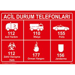TAROKS - Acil Durum Telefonları Uyarı Levhası U10129