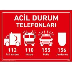 TAROKS - Acil Durum Telefonları Uyarı Levhası U10141