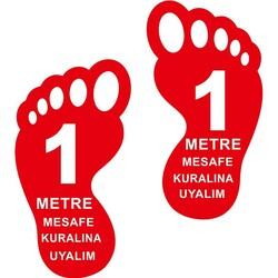 TAROKS - Ayak İzi 1 Metre Mesafeyi Koruyalım Yer Etiketi 30 cm Kırmızı