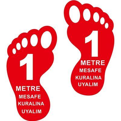 Ayak İzi 1 Metre Mesafeyi Koruyalım Yer Etiketi 30 cm Kırmızı