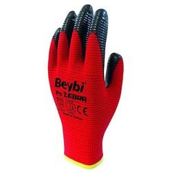 BEYBI - Beybi Nitril Eldiven Pn Zebra Kırmızı/Siyah No:10 XL