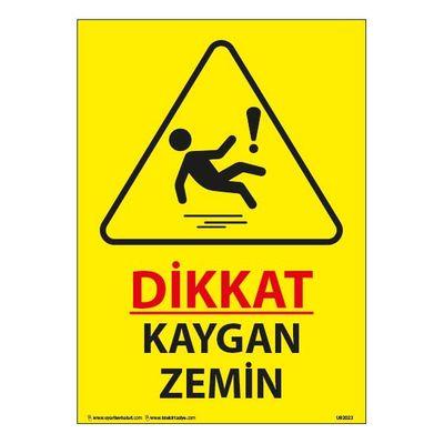 Dikkat Kaygan Zemin Uyarı Levhası 25X35 3mm