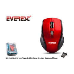 EVEREST - Everest Kablosuz Mouse SM-245 USB Kırmızı/Siyah