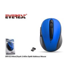 Everest SM-613 Mavi/Siyah 2.4Ghz Optik Kablosuz Mouse - Thumbnail