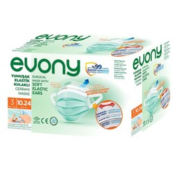 Evony Cerrahi Maske 3 Katlı Elastik Kulaklı 50'li