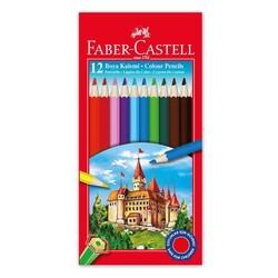FABER CASTELL - Faber Castell Kuru Boya Kalemi 12 Renk Tam Boy 116312