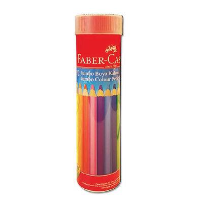 Faber Castell Kuru Boya Kalemi Jumbo Üçgen 12 Renk Tüp 116615