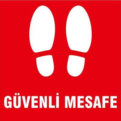 Güvenli Mesafe Ayak İzi Yer Etiketi Kare Kırmızı U21081
