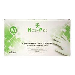 HAS-PET - Has-Pet Lateks Muayene Eldiveni Pudrasız Beyaz M 100'lü