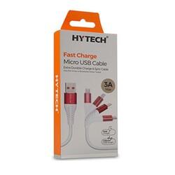 HYTECH - Hytech 1.2M 3A Micro Usb Data+Şarj Kablosu Kırmızı/Beyaz HY-X230
