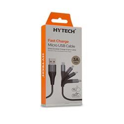 Hytech 1.2M 3A Micro Usb Gri/Siyah Data + Şarj Kablosu HY-X230 - Thumbnail
