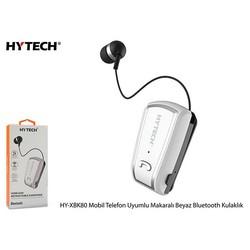 HYTECH - Hytech Mobil Telefon Uyumlu Makaralı Beyaz Bluetooth Kulaklık HY-XBK80