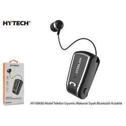HYTECH - Hytech Mobil Telefon Uyumlu Makaralı Siyah Bluetooth Kulaklık HY-XBK80