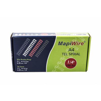 Mapiwire 1/4 Kutu A4 Tel Siyah Spiral 100'lü