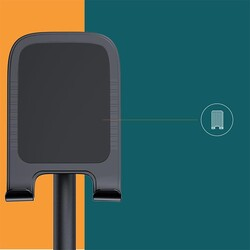 Rock Masaüstü Teleskopik Telefon Standı Siyah - Thumbnail