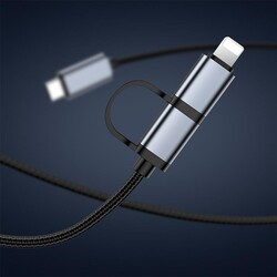 Rock Şarj Kablosu 2 li Type C ve Lightning 20W 1 m Siyah - Thumbnail