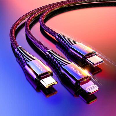 Rock Şarj Kablosu Hi-Tensile 3 lü Type C Lightning Micro USB 3A 1.2 m