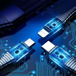 Rock Şarj Kablosu Hi-Tensile 3 lü Type C Lightning Micro USB 3A 1.2 m - Thumbnail