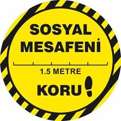 TAROKS - Sosyal Mesafeni Koru Yer Etiketi Sarı 30 cm U21089