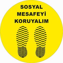 TAROKS - Sosyal Mesafeyi Koruyalım Ayak İzi Dalgalı Yer Etiketi 30 cm