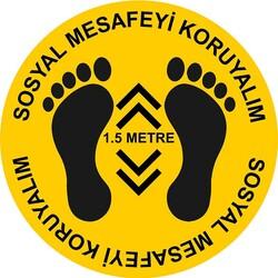 TAROKS - Sosyal Mesafeyi Koruyalım Ayak İzi ve 1,5 Metre Yer Etiketi Sarı 30 cm