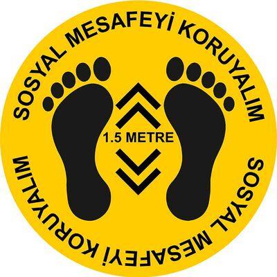 Sosyal Mesafeyi Koruyalım Ayak İzi ve 1,5 Metre Yer Etiketi Sarı 30 cm