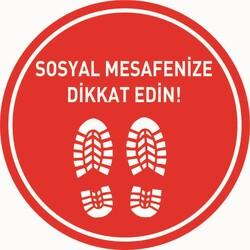 TAROKS - Sosyal Mesafeyi Koruyalım Ayak İzi Yer Etiketi Kırmızı 30 cm