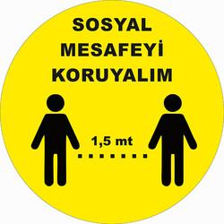 TAROKS - Sosyal Mesafeyi Koruyalım Yer Etiketi 30 cm