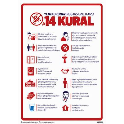 Virüse Karşı 14 Kural Uyarı Levhası U10090