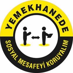 TAROKS - Yemekhanede Sosyal Mesafeyi Koruyalım Yer Etiketi 30 cm U21094